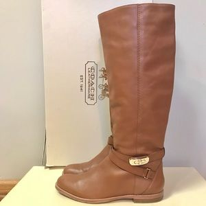 Coach Christine Leather Tall Boots Caramel 8